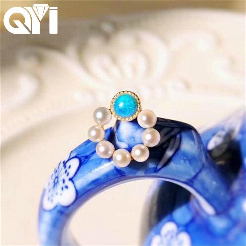 QYI 18 K boucles d'oreilles en or jaune véritable opale bleue naturelle Akoya pour femme filles cercle boucle d'oreille pour bijoux de fiançailles de mariage