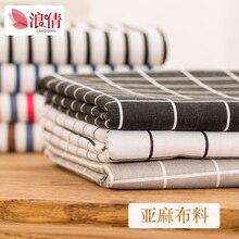 Cotton and linen rag head DIY Nordic curtain windscreen black white checks