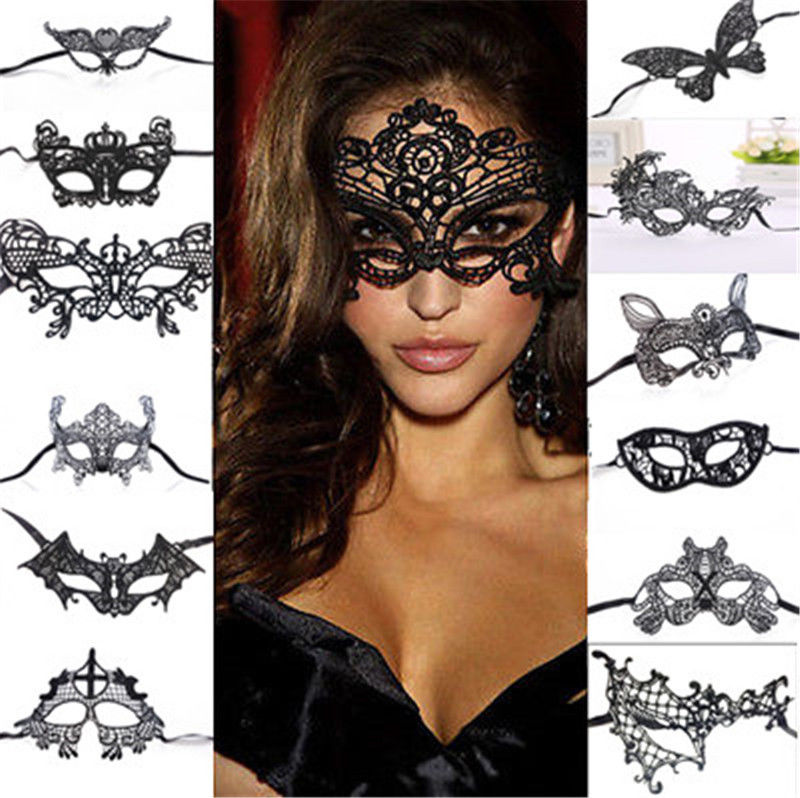 1PCS Black Women <font><b>Sexy</b></font> Lace <font><b>Eye</b></font> <font><b>Mask</b></font> Party <font><b>Masks</b></font> For Masquerade Halloween Venetian Costumes Carnival <font><b>Mask</b></font> For Anonymous Mardi image