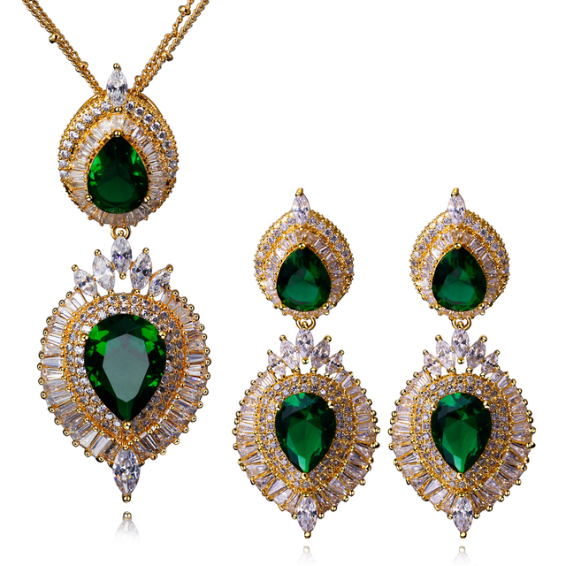 Bridal Jewerly Sets Gold plated With Cubic Zirconia Women Wedding Jewelry Sets  Water Drop Pendant Necklace and Earrings