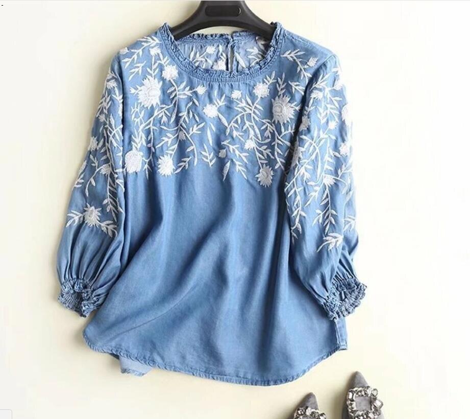 GIRL SHIRTS Wooden ear collar embroidery denim shirt TOP