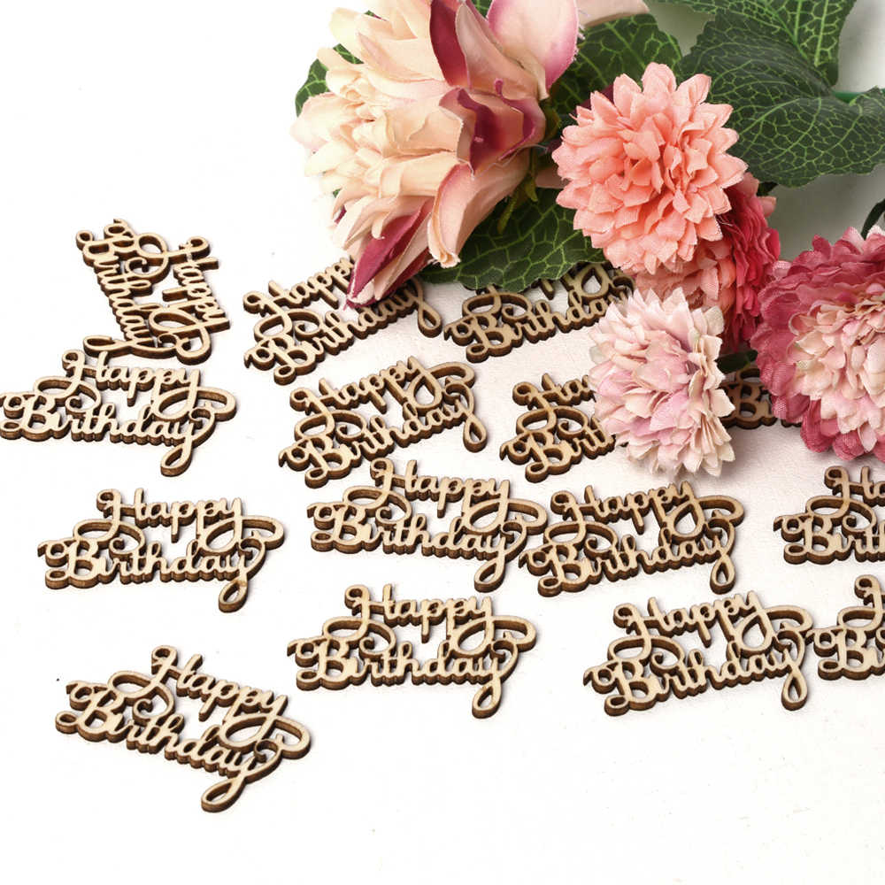 """15 шт. """"с днем рождения"""" вырезанный лазером по дереву ломтик ручной работы письмо резьба деревянные Ремесла Висячие украшения для дома"""