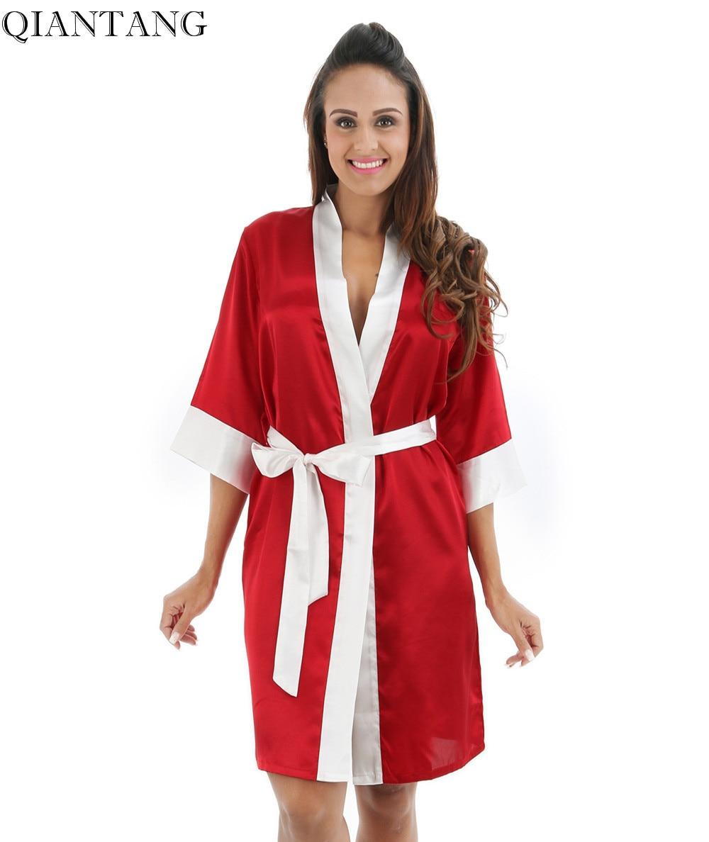 RED Womens Robe Hot Sale Faux Silk Kimono Bath Gown Female Sexy Bathrobe Nightgown Mujer Pijama Size S M L XL XXL Zh05A