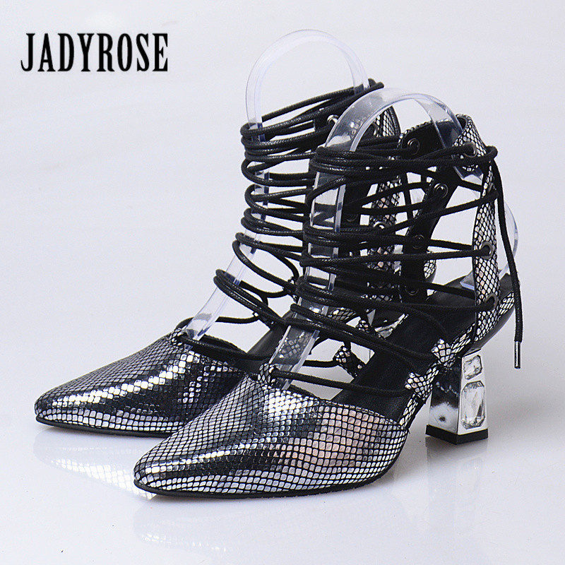 Jady Rose Designer Silver Bling Crystal Women Pointed Toe Sexy High Heels Lace Up Ladies Sandals Women Pumps Female Stiletto
