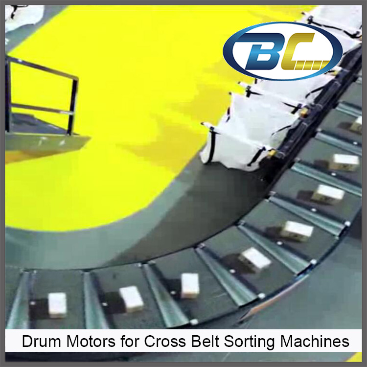 48V Drum Motors for Cross Belt Sorting Machines in postal service and logistic,Motorized pulley for Belt Type Car Object Sorting logistic management