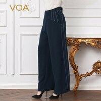 VOA тяжелый шелк Бисер офисные широкие брюки ноги плюс Размеры 5XL свободные Высокая талия брюк Для женщин Сплошной Темно синие Повседневное к