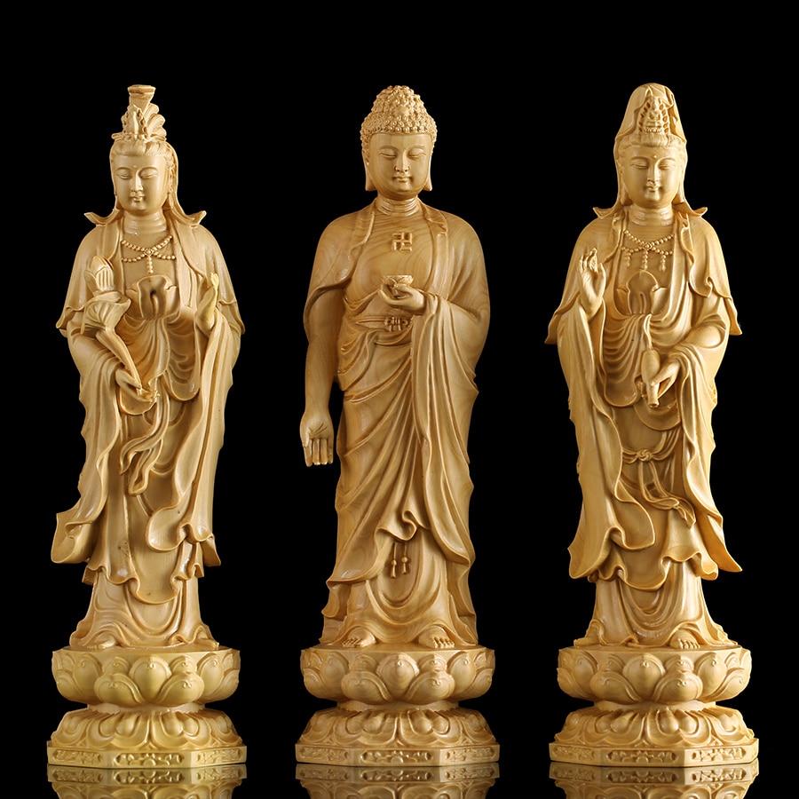 20 cm Solide bois Chinois Bouddhisme Buda figurines Lotus Jaune Richesse Dieu Bouddha Statue dieu statues pour la décoration intérieure maison décoration