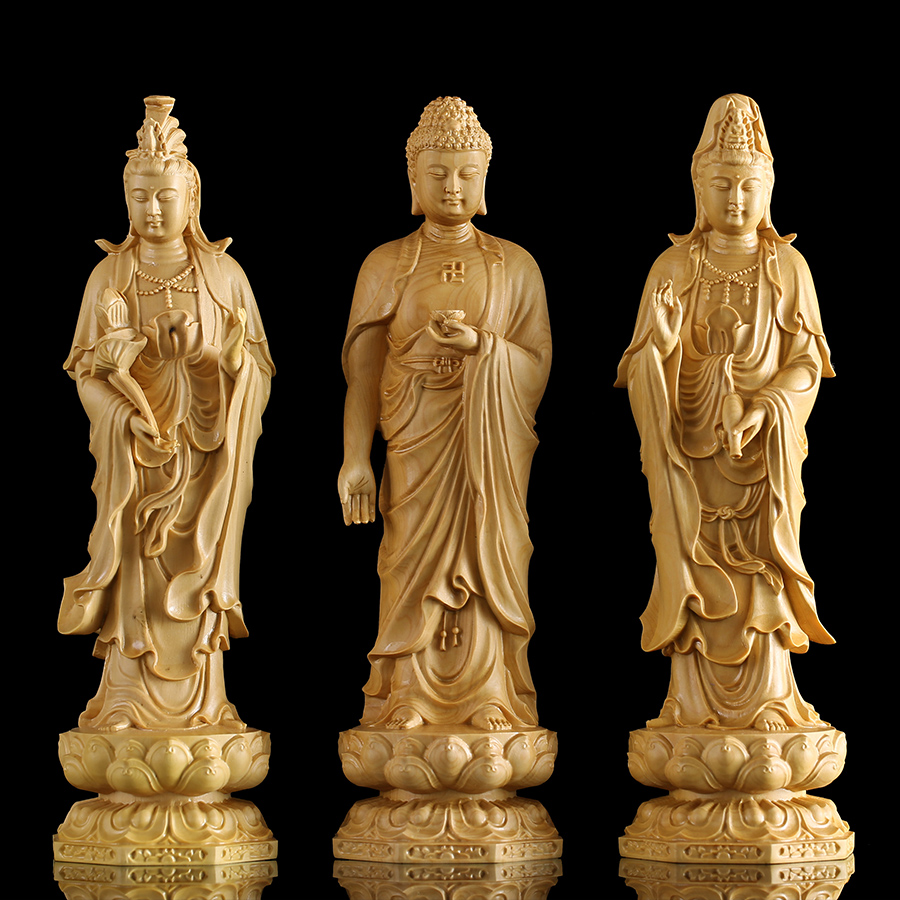20cm Solid wood Chinese Buddhism Buda figurines Lotus Yellow Wealth God Buddha Statue god statues for home decor  decoration