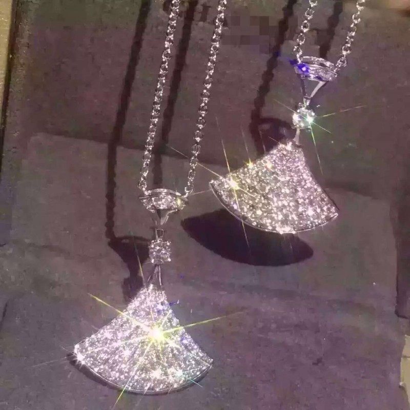 Hot Brand Pure 925 Sterling Silver Jewelry For Women Diamant full  Fan Pendant Silver Fan Design Necklace Diva Dream PendantsHot Brand Pure 925 Sterling Silver Jewelry For Women Diamant full  Fan Pendant Silver Fan Design Necklace Diva Dream Pendants