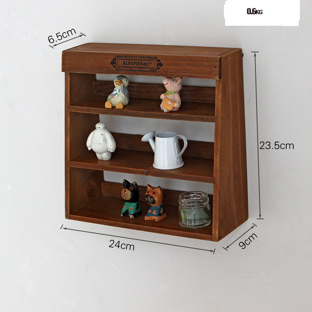 Vintage wooden shelf furniture wall storage Rack 3 layers wooden ...