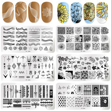 PICT YOU Nail Stamping Plates Butterfly Flower Leaf Mixed 12cm * 6cm Nail Art Image Plate Stencils Stainless Steel Nail Design