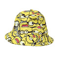 kids Graffiti baby panama  hat yellow crochet knit minion hat  summer beach style cartoon sun caps boys girls cotton canvas hats