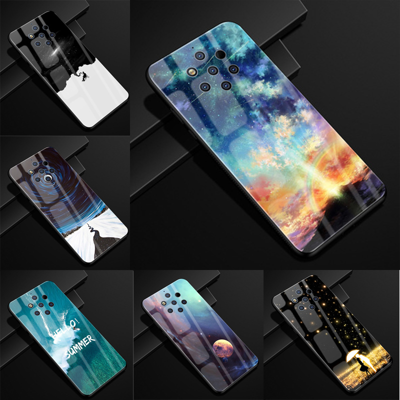 2PCS For Nokia 9 PureView Case Tempered Glass Glossy Back Cover For Nokia 9PureView Phone Shell Coque Nokia9 PureView Capa