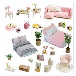 Image 4 - Casa de boneca diy casas de bonecas de madeira em miniatura kit de móveis brinquedos casa para crianças presente natal l026