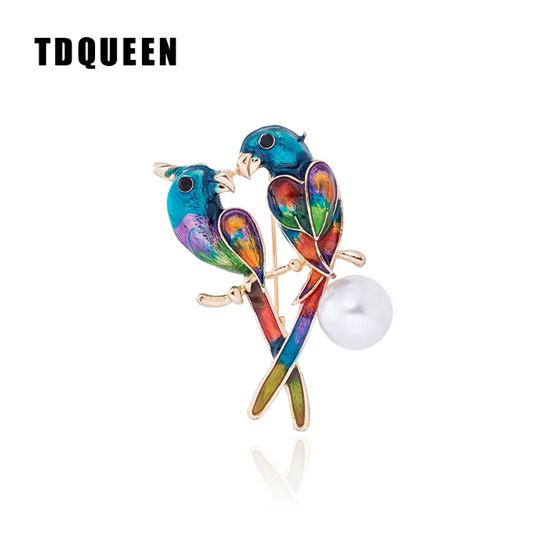 Green Enamel Parrot Macaw Love Bird Rhinestone Crystal Brooch Pin Pins & Brooches Collectibles