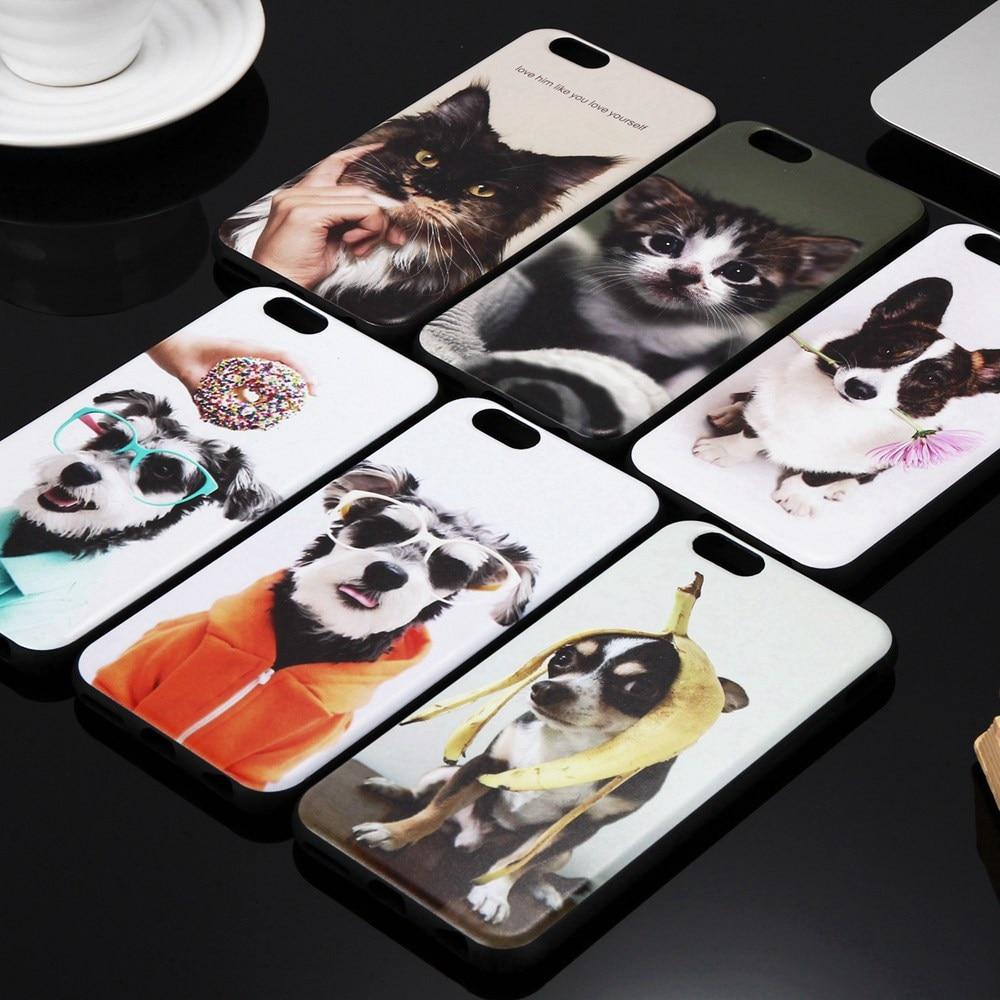 Para iphone 7 cubierta de dibujos animados lindo pet dog cat tpu case para iphon