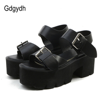 Gdgydh Summer Fashion Women Sandals High Thick Heel Open Toe Buckle Strap Platform Shoes Female Black