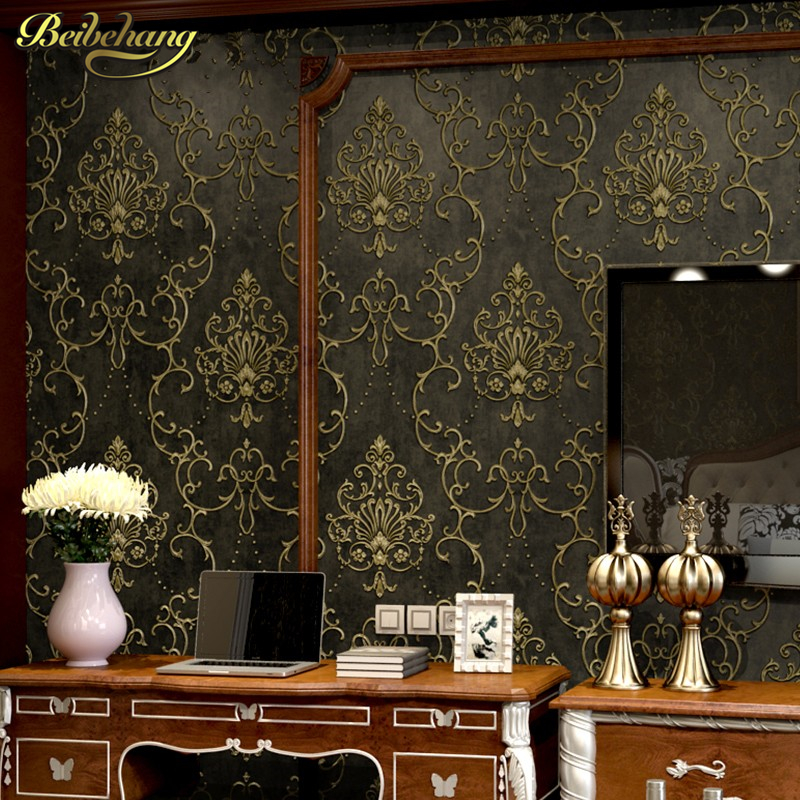 купить beibehang metallic brown damask non woven wallpaper for walls 3 d living room TV background mural wall paper papel de parede 3d по цене 2227.6 рублей