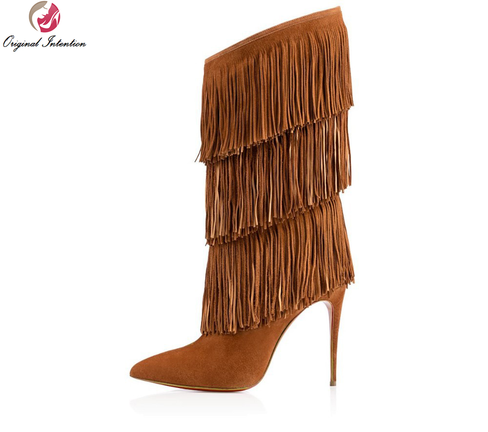 Original Intention New Fashion Women Mid-Calf Boots Sexy Tassel Pointed Toe Thin Heels Boots Brown Shoes Woman Plus Size double buckle cross straps mid calf boots