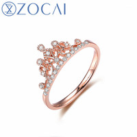ZOCAI Crown Shape Real Natural Diamond Engagement Rings with Real 18K Rose Gold (Au750) W06197 W06261 W06118 W06198