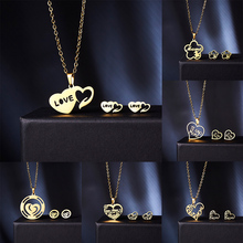 Classic Stainless Steel Jewelry Sets Flower-shaped Hollow Necklace Earrings Set Women Children Mothers Day Gift
