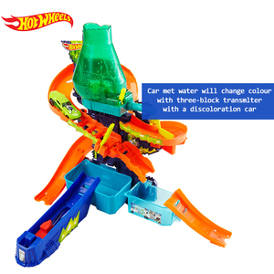 Image 4 - Hot Wheels Pista de coches eléctricos de ciudad para niños, Volcán de Escape, juguete de desafío, juego de coches para niños, Oyuncak Araba FTD61