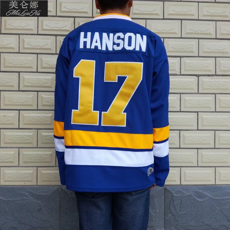 MeiLunNa воротам Charlestown РУКОВОДСТВО 16 Джек Хэнсон 17 Стив Хэнсон 18 Джефф Хэнсон братья 7 Реджи Dunlop сине-белые трикотажные