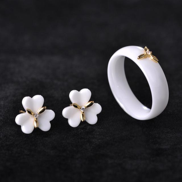 MECHOSEN Branco/Preto de Cerâmica Conjuntos de Jóias Brincos & Rings Ear Piercing Flor Brinco AAA Zircão de Cobre Porcelana Anillos