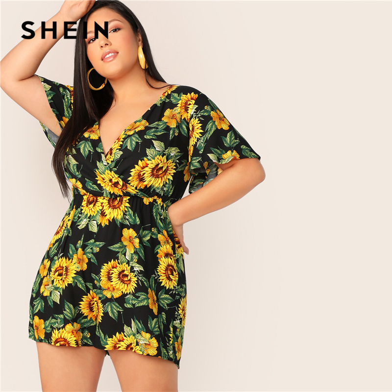 SHEIN Plus Size Surplice Neck Sunflower Print Boho   Romper   2019 Women Summer Playsuit Butterfly Sleeve Deep V Neck Crop Jumpsuits