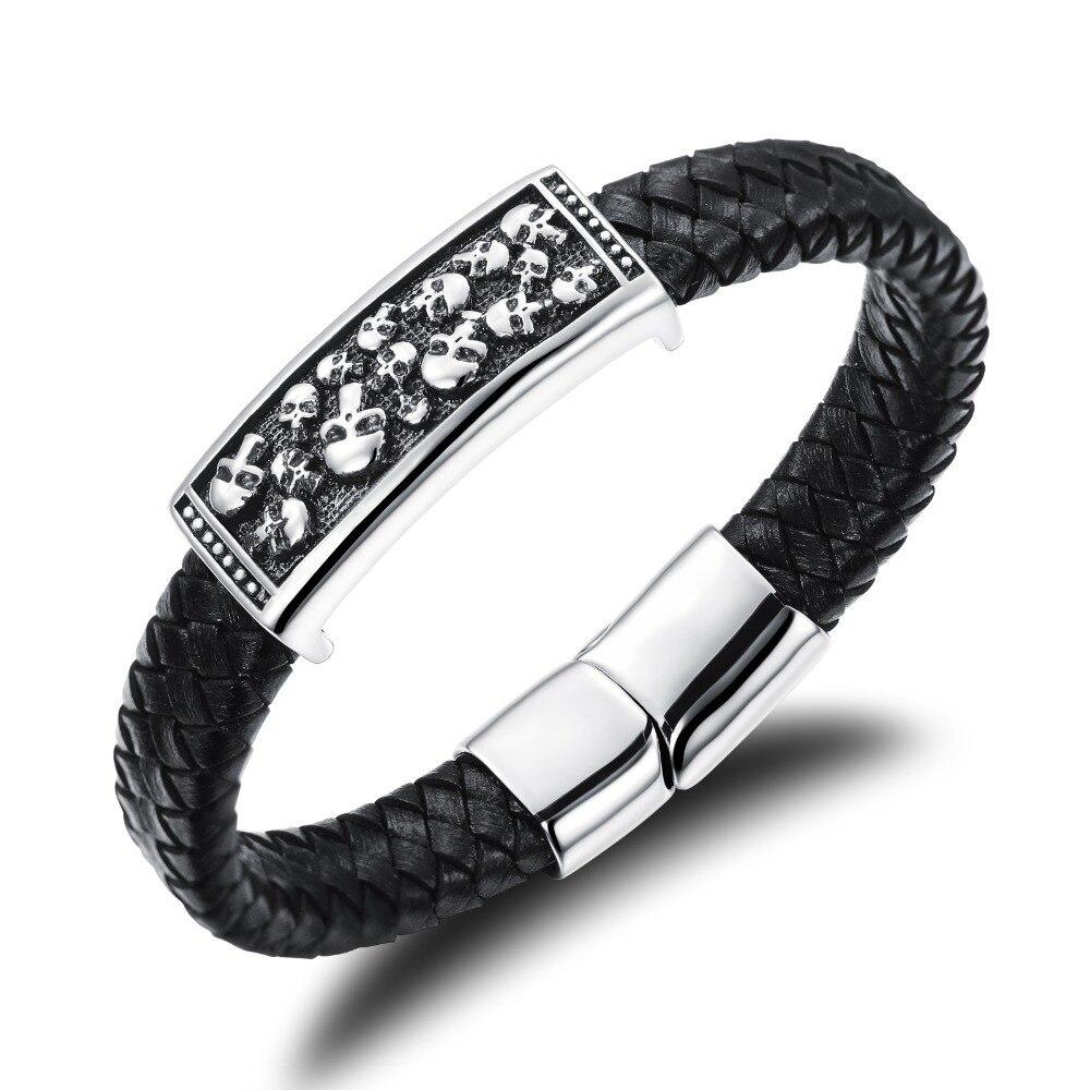 Punk Skull Bracelet Men Rock Skeleton Hand Bracelet Magnetic Clasp Wide  Black Genuine Leather Braided Wrap Bracelet Bangle Men