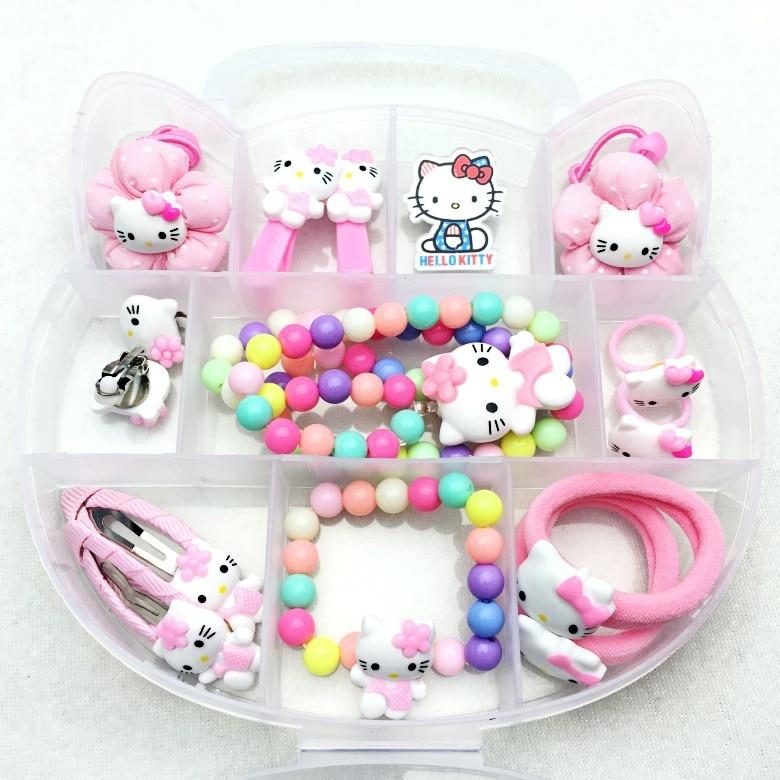 55a730a36 Fashion Children Headwear Bowknot Hello Kitty Hair Clips Gum Elastic Bands  Hair Accessories Barrettes Scrunchies For Cute Baby