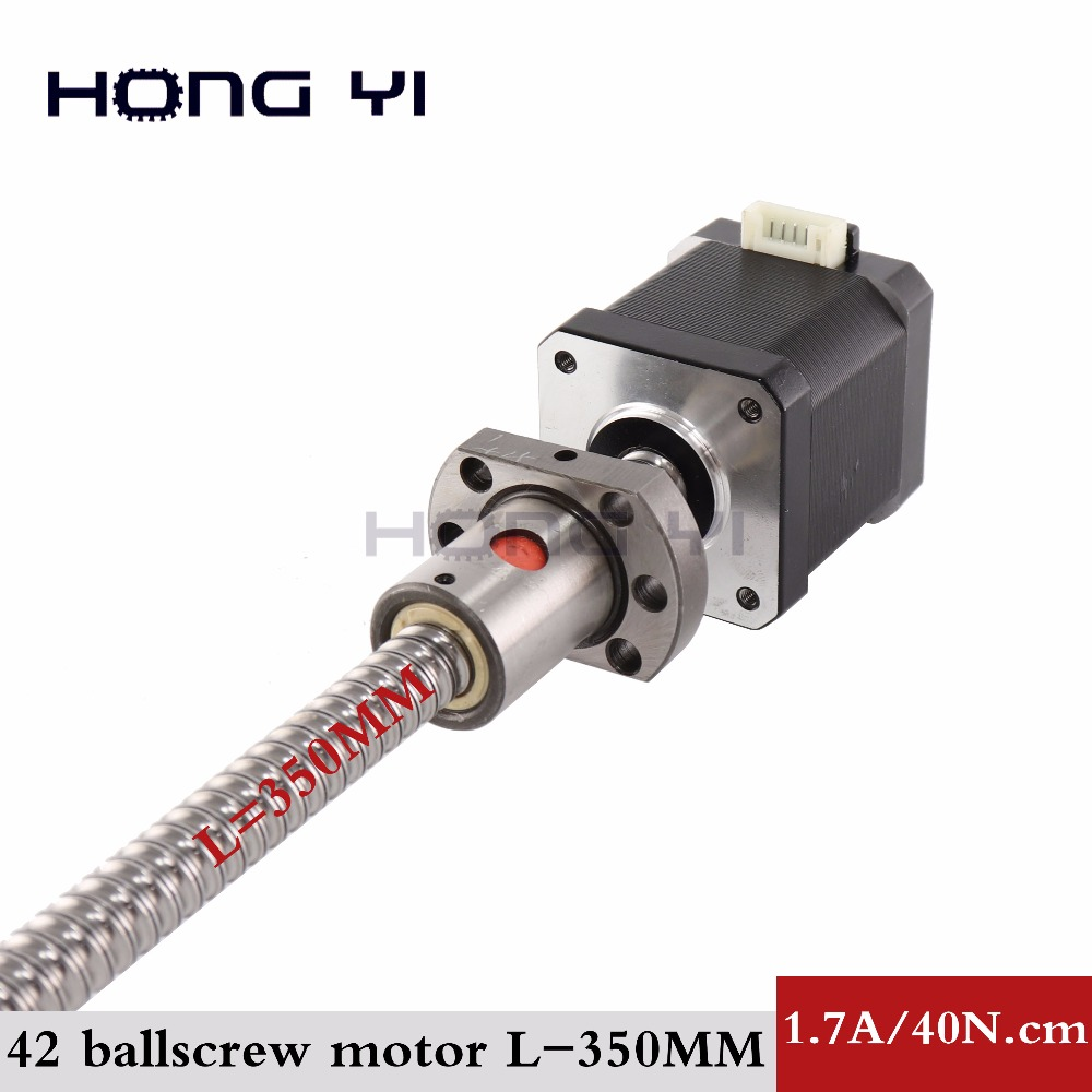 Nema17 ball screw Stepper Motor 42 motor  42BYGH 1.7A  motor ball screw SFU1204  L350MM for CNC 3D printer 4-lead 17hs4401s nema23 linear stepper w 310mm tr10 4 lead screw for 3d printer desktop straight screw motor