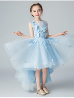 Sky Blue Tulle Girls Party Dress Appliques Flower Girl Dress For Wedding Kids Pageant Costume Princess First Communion Dresses