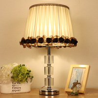 Tuda Livraison Gratuite Dentelle Tissu Ombre Lampe de Table Art Déco Style K9 Cristal Lampe de Table Décor À La Maison Pour Chambre Chambre Bureau lampe
