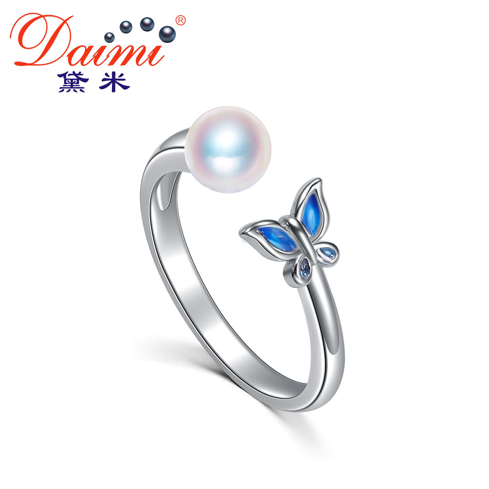 DAIMI Exquisite Butterfly Ring 4.5-5mm Pearl Ring Akoya Pearl Ring 925 Silver Ring Gift Jewelry For Women stylish faux pearl rhinestone eye ring for women