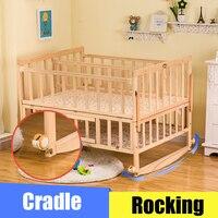 Детские близнецы кроватки с москитной сеткой, двойная детская деревянная кровать может соединяться с взрослой кроватью