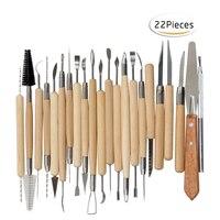Manualidades 22 Uds herramientas de arcilla conjunto de herramientas de tallado de cerámica y cerámica mango de madera herramientas para moldear arcilla