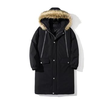 2019 autumn and winter men's long black coat loose large pocket hooded fur collar coat jacket more size S-XL XXL