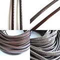 1 Meter Brown / Gray Snake Skin Licorice Leather Cord 10x6mm Faux Python Licorice Cord