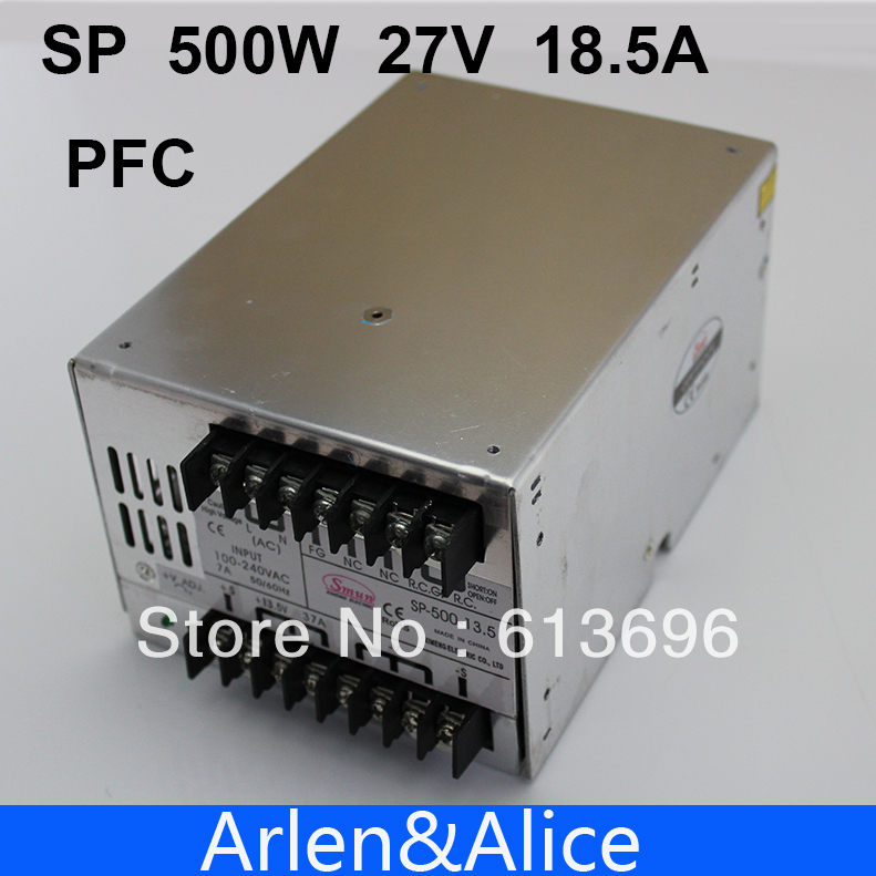 15v ac dc sp 75 15 single output with pfc function input fully range switching power supply SP500W 27V 18A with PFC Single Output Switching power supply for LED Strip light AC to DC