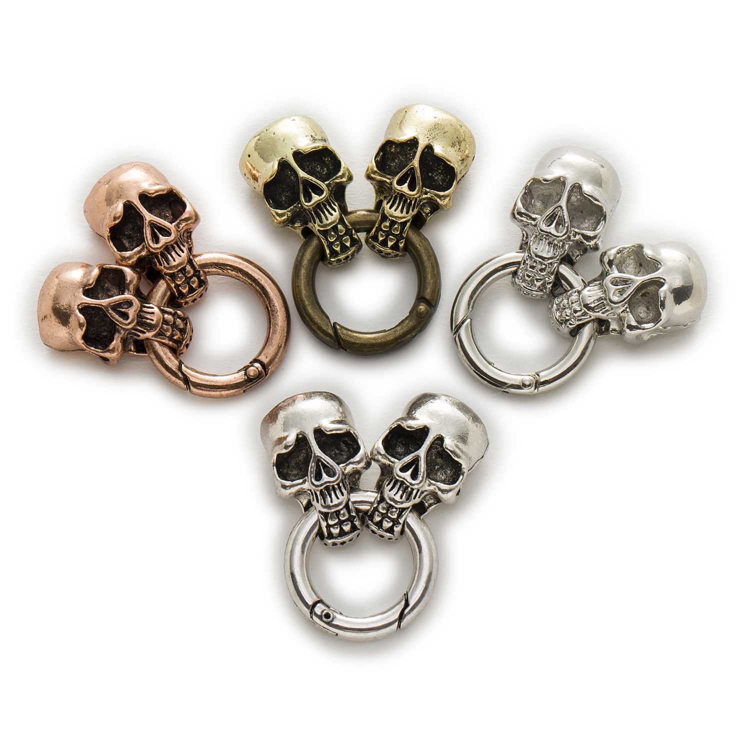 10//30Pcs Silver//Bronze Skull Head Gothic Brooch Pin Shaped Charms Pendants Beads