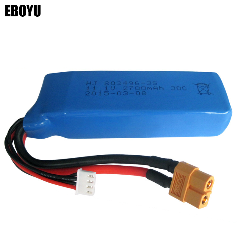 EBOYU(TM) <font><b>11.1V</b></font> <font><b>2700mAh</b></font> 30C <font><b>Lipo</b></font> <font><b>Battery</b></font> for Wltoys V303 V393 WL913 Cheerson CX20 RC Quadcopter Drone Spare Parts image