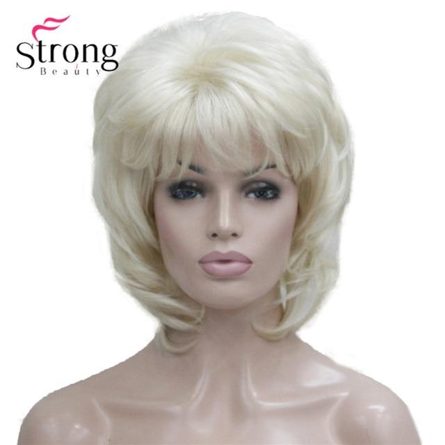 StrongBeauty קצר שכבות בלונד קלאסי כובע מלא סינטטי פאה נשים שיער פאות צבע אפשרויות