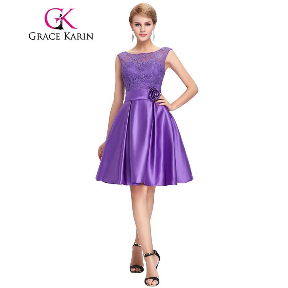 7e73f4b94df Grace Karin Cute Short Bridesmaid Dresses Knee Length Satin Lace A line  Charming Green Purple Blue Bridesmaid Gown CL6116-in Bridesmaid Dresses  from ...