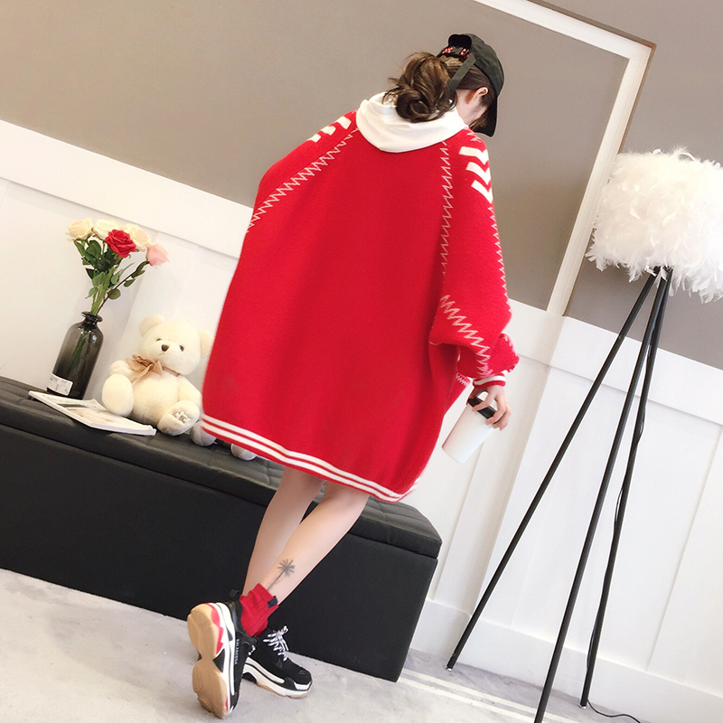 2018 new spring winter women loose female red sweater cardigan sweater thickened outwear jackets tops 0