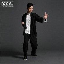 Ретро китайских мужчин Wing chun кунг-фу Униформа тай-чи костюмы ушу льняной пиджак + брюки наборы Винтаж китайской одежды