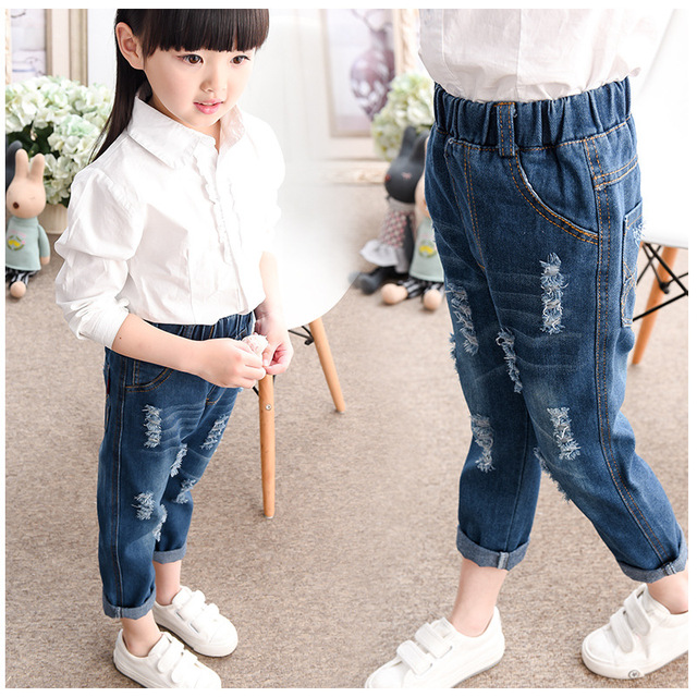 Girls 2016 New Spring Summer Pants Ripped Casual Jeans Kids Blue Skinny Fashion Children Clothing Little Kid Sport Denim Pants