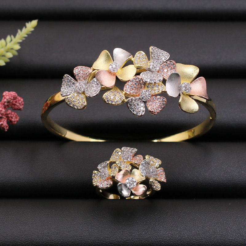 Lanyika Jewelry Set Colorful Exquisite Flowers Bangle With Ring For Girl Banquet Wedding Micro Inlay Popular Luxury Best Gifts
