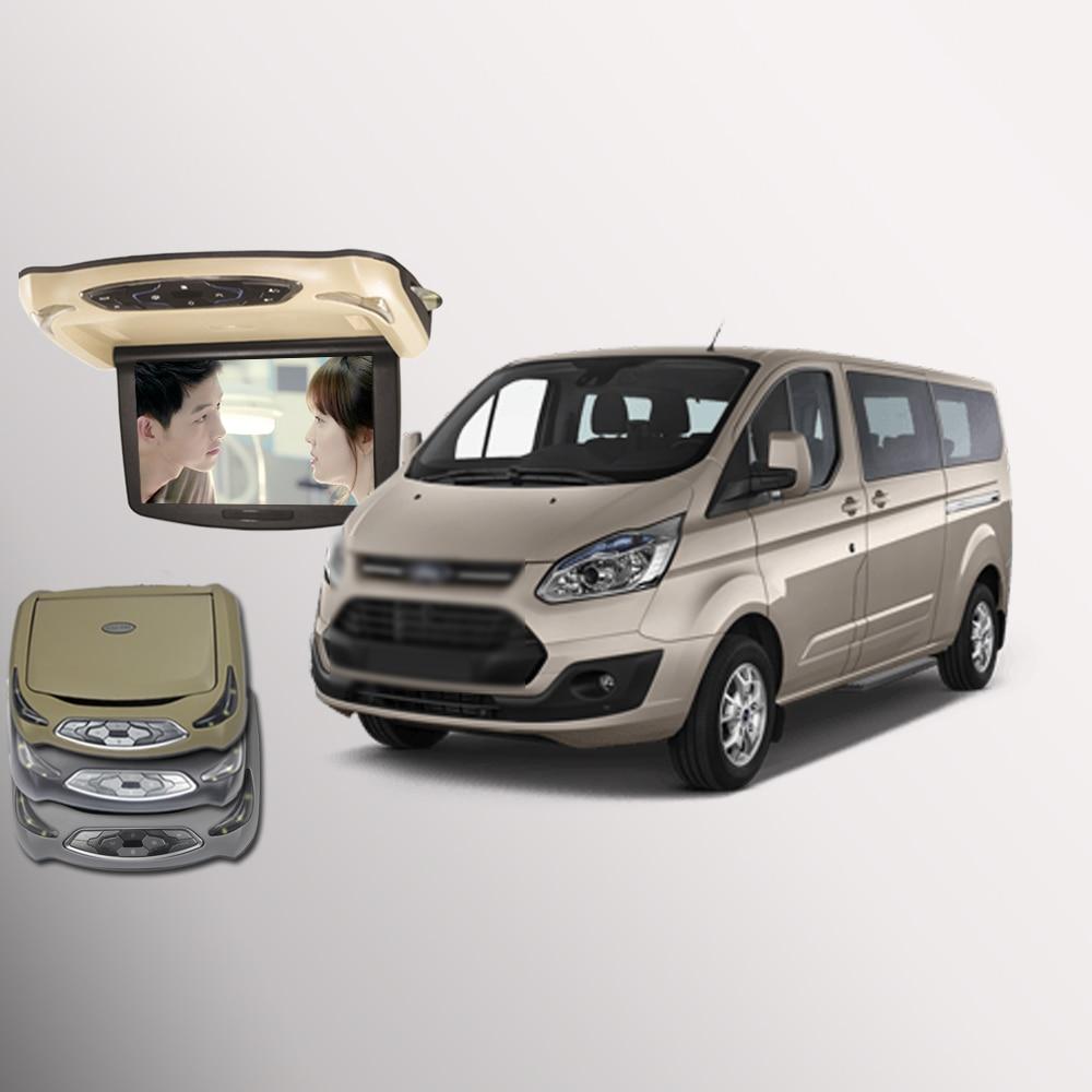 BigBigRoad Pour Ford Tourneo Personnalisé Voiture Toit Monté en voiture Écran Numérique Soutien HDMI USB FM TV Jeu IR À Distance flip Down DVD