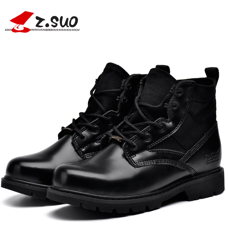 Z Suo Quality Classic Men Desert Boots Nubuck Genuine Leather Boots Men Outdoor Military Boots Canvas